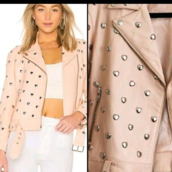 Lovers + Friends Jackets & Blazers - Leather Moto Jacket Studded Hearts Pink size XS